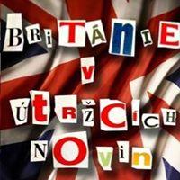 Ikona Británie v útržcích novin an Facebooku